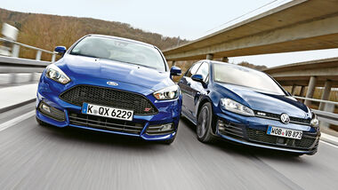 Ford Focus ST 2.0 TDCi, VW Golf GTD, Frontansicht