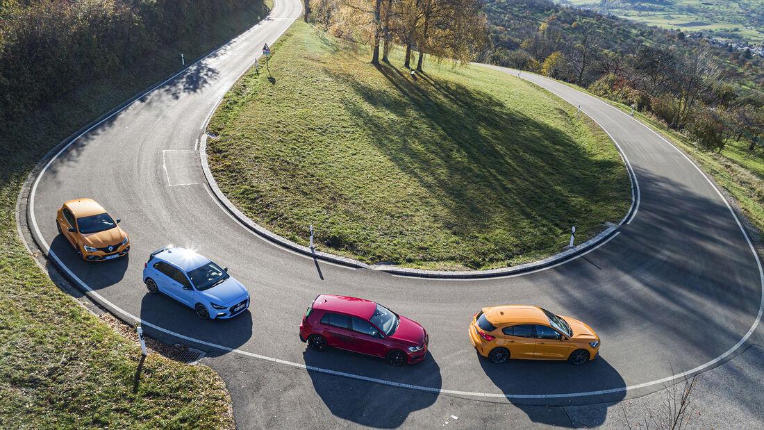 Ford Focus ST, Hyundai i30 N Performance, Renault Mégane R.S. Trophy, VW Golf GTI TCR, ams_2019_25, Vergleichstest
