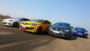 Ford Focus ST, Opel Astra OPC, Renault Mégane RS, Seat Leon Cupra, Frontansicht