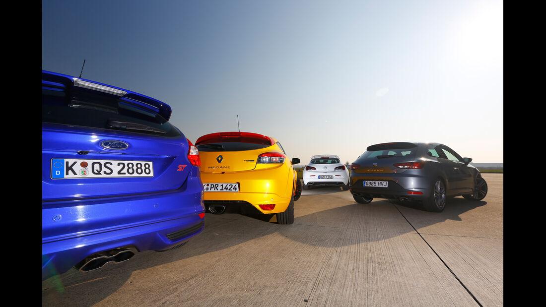 Ford Focus ST, Opel Astra OPC, Renault Mégane RS, Seat Leon Cupra, Heckansicht