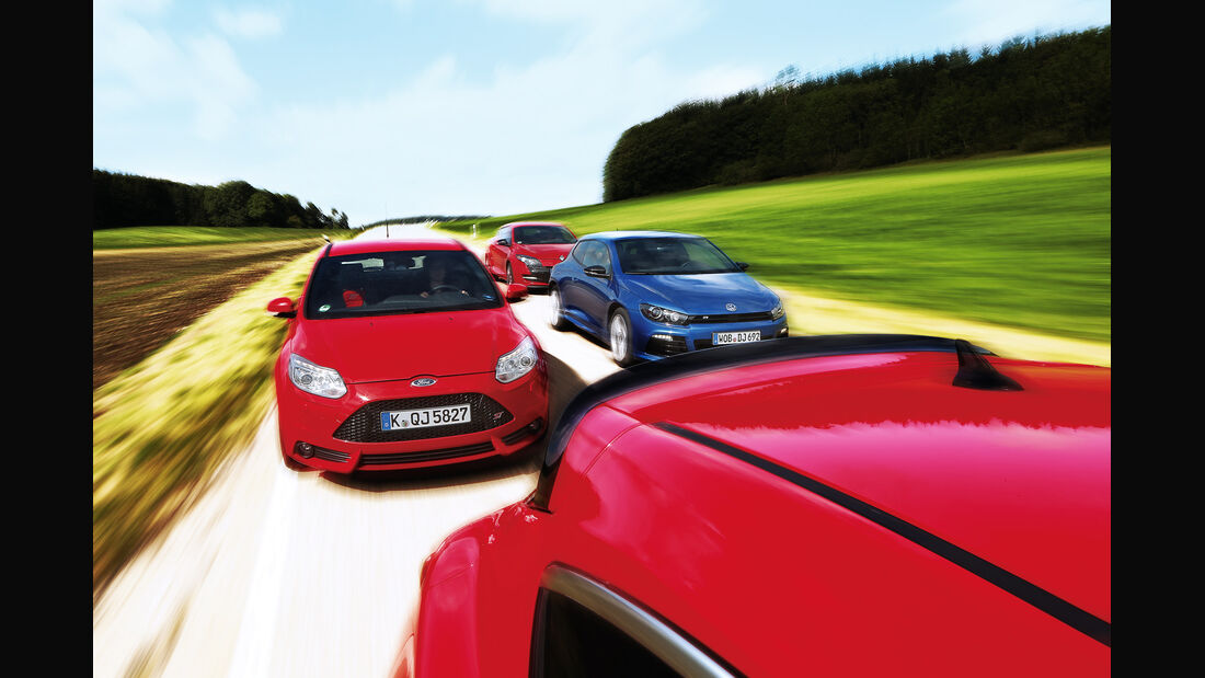 Ford Focus ST, Opel Astra OPC, Renault Mégane RS, VW Scirocco R, Frontansicht