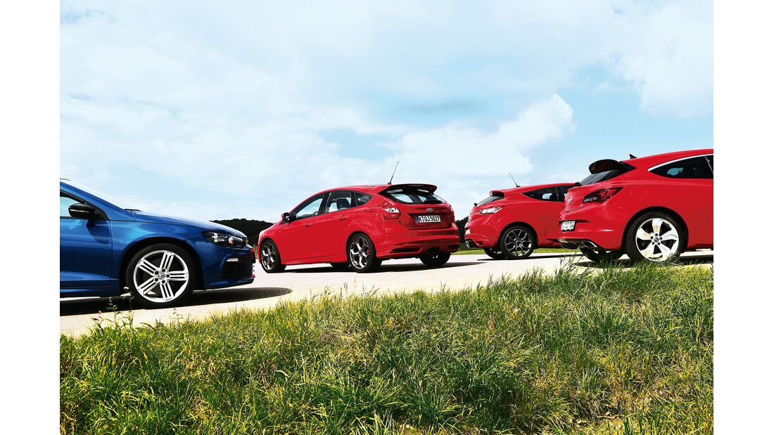 Ford Focus ST, Opel Astra OPC, Renault Mégane RS, VW Scirocco R, Heckansicht