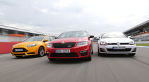 Ford Focus ST, Skoda Octavia RS, VW Golf GTI Performance, Frontansicht