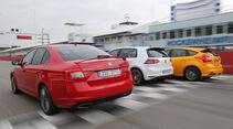 Ford Focus ST, Skoda Octavia RS, VW Golf GTI Performance, Heckansicht