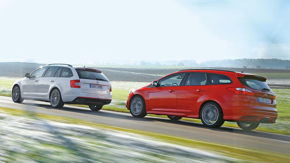 Ford Focus ST Turnier, Skoda Octavia RS Combi, Seitenansicht