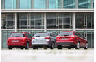 Ford Focus Turnier 1.6 Ecoboost Titanium, Opel Astra Sp.Tourer 1.4 Turbo Innovation, Peugot 308 SW 155 THP Allure, Heckansicht, Rückansicht, alle Fahrzeuge