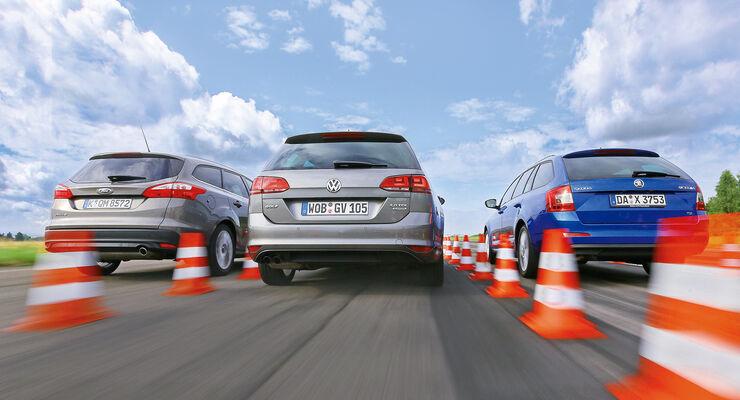 Ford Focus Turnier 2.0 TDCi, Skoda Octavia Combi 2.0 TDI, VW Golf Variant 2.0 TDI
