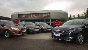 Ford Focus Turnier, Kia Cee'd SW, Peugeot 308 SW, Skoda Octavia Combi, Frontansicht