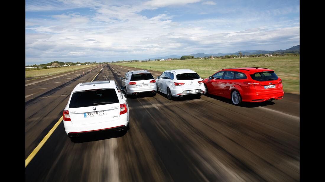 Ford Focus Turnier, Seat Leon Cupra ST 280, Skoda Octavia RS 230 Kombi, VW Golf R Variant, sport auto 11/2015