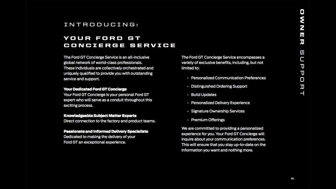 Ford GT Besitzerbroschüre