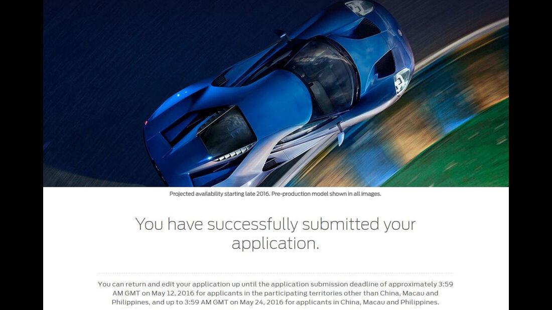 Ford GT, Online-Bewerbung, 2016