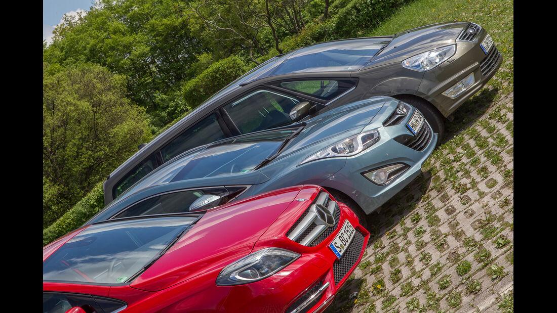 Ford Galaxy, Hyundai i40, Mercedes B 180