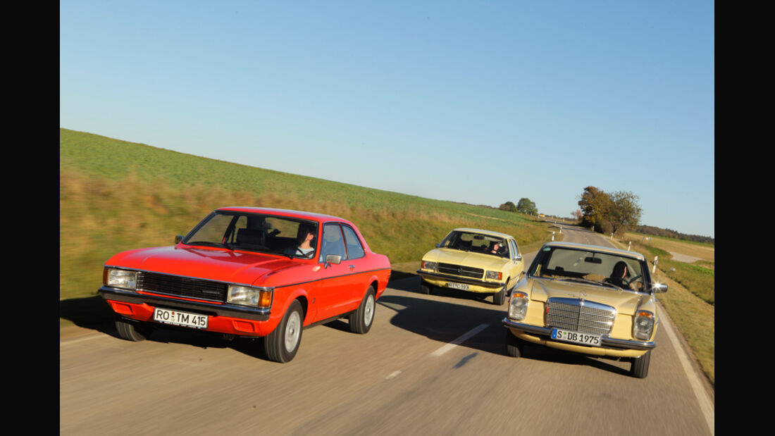 Ford Granada 2.0L V6, Opel Record 2000 Berlina, Mercedes-Benz 230.4, Front