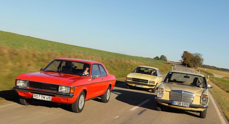 Ford Granada 2.0L V6, Opel Record 2000 Berlina, Mercedes-Benz 230.4, Front