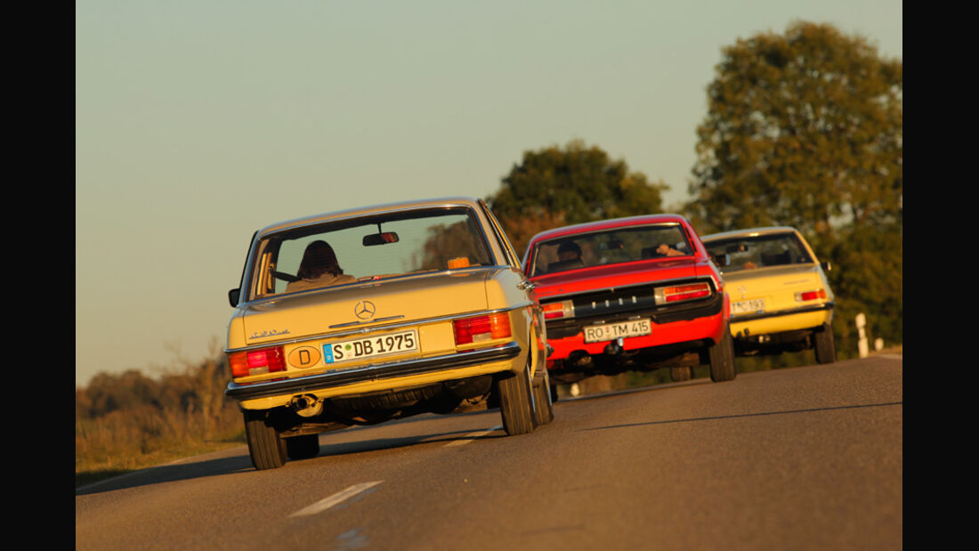 Ford Granada 2.0L V6, Opel Record 2000 Berlina, Mercedes-Benz 230.4, Heck