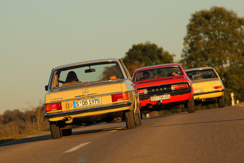 Ford Granada 2.0L V6, Opel Record 2000 Berlina, Mercedes-Benz 230.4, Heck