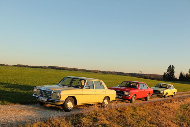 Ford Granada 2.0L V6, Opel Record 2000 Berlina, Mercedes-Benz 230.4, Seitenansicht