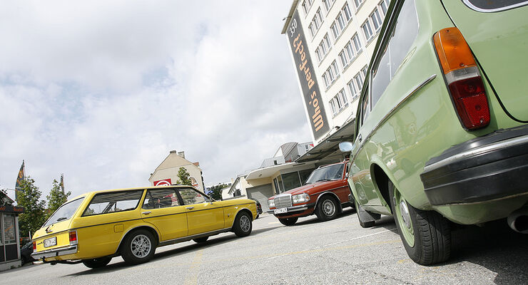Ford Granada Turnier 2.3 GL S Turnier, Mercedes-Benz 200 T und Volvo 245 DL