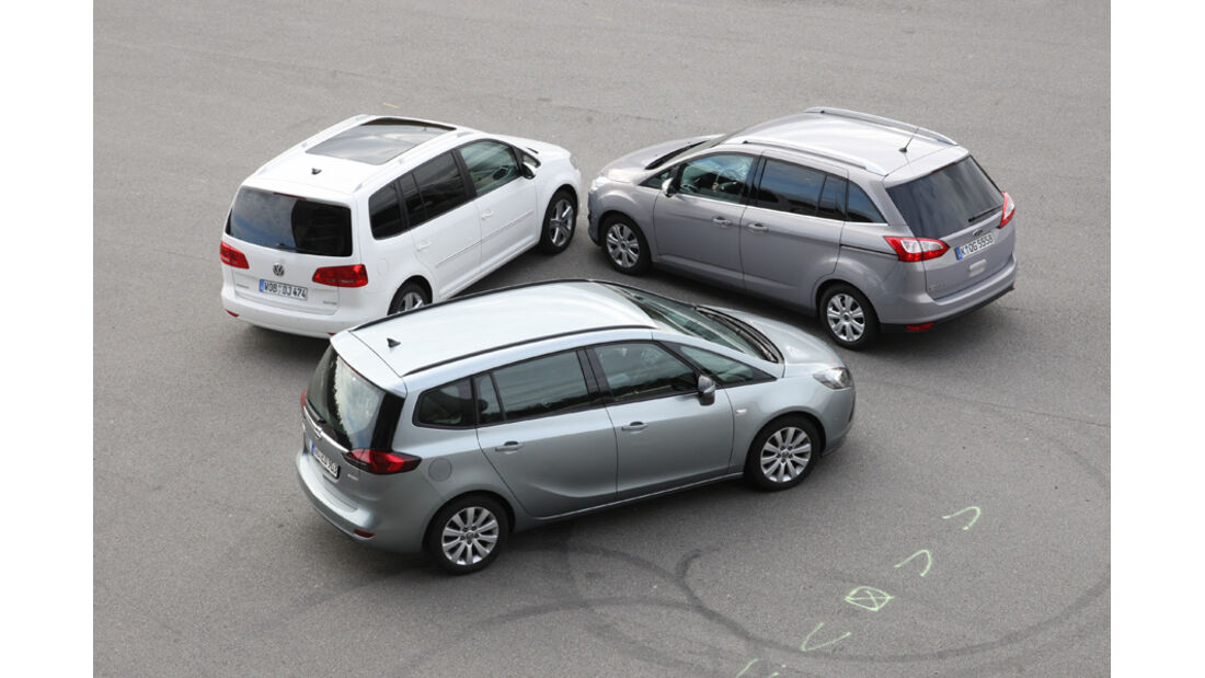 Ford Grand C-Max 2.0 TDCi Titanium, Opel Zafira Tourer 2.0 CDTi Ecoflex Edition, VW Touran 2.0 TDI Highline
