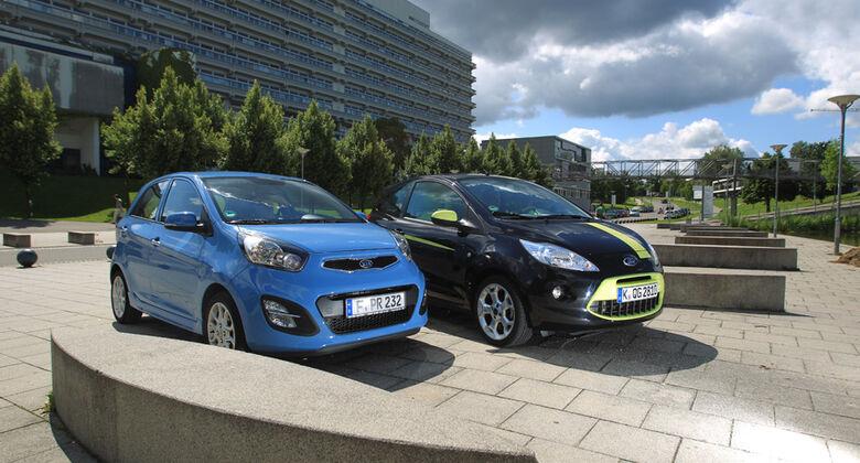 Ford KA Titanium, Kia Picanto ISG Spirit, Seitenansicht