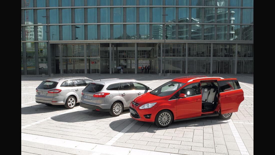 Ford Mondeo, Ford Focus Turnier, Ford Grand C-Max, Seitenvergleich