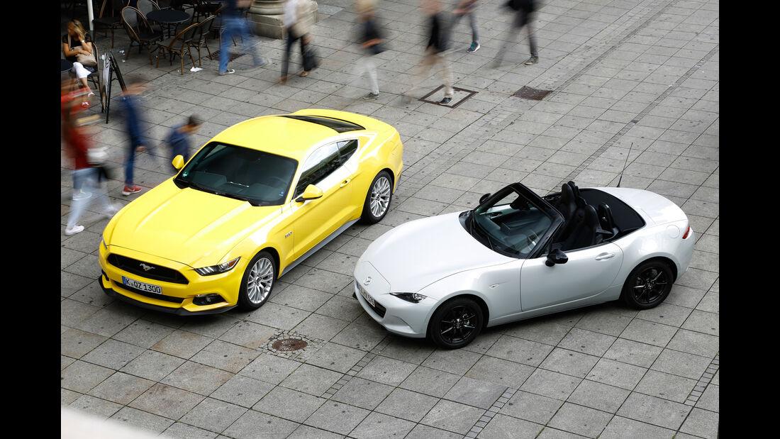 Ford Mustang GT 5.0, Mazda MX5 Skyaktiv G 131, Frontansicht