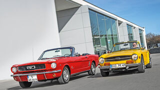Ford Mustang, Triumph TR6, Frontansicht