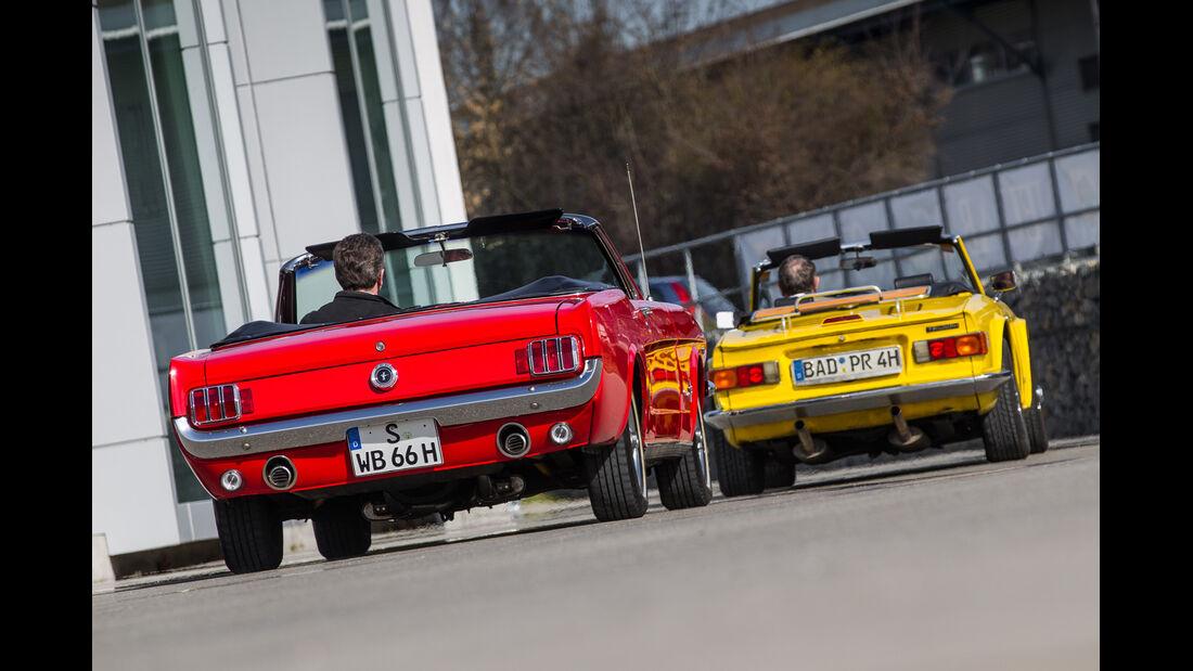 Ford Mustang, Triumph TR6, Heckansicht