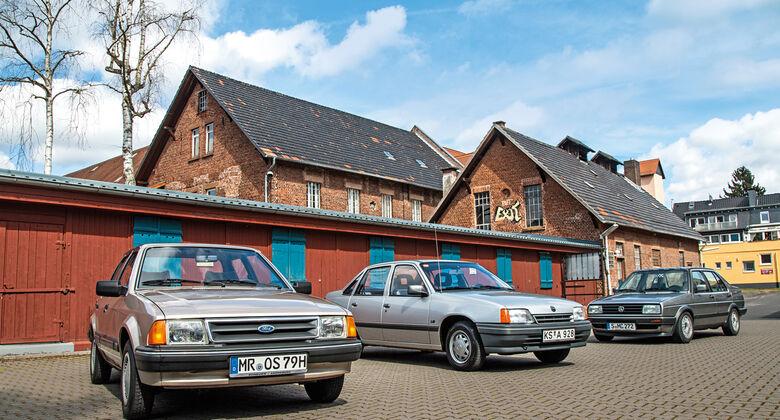 Ford Orion 1.6 GL, Opel Kadett 1.6i, VW Jetta 1.8, Frontansicht