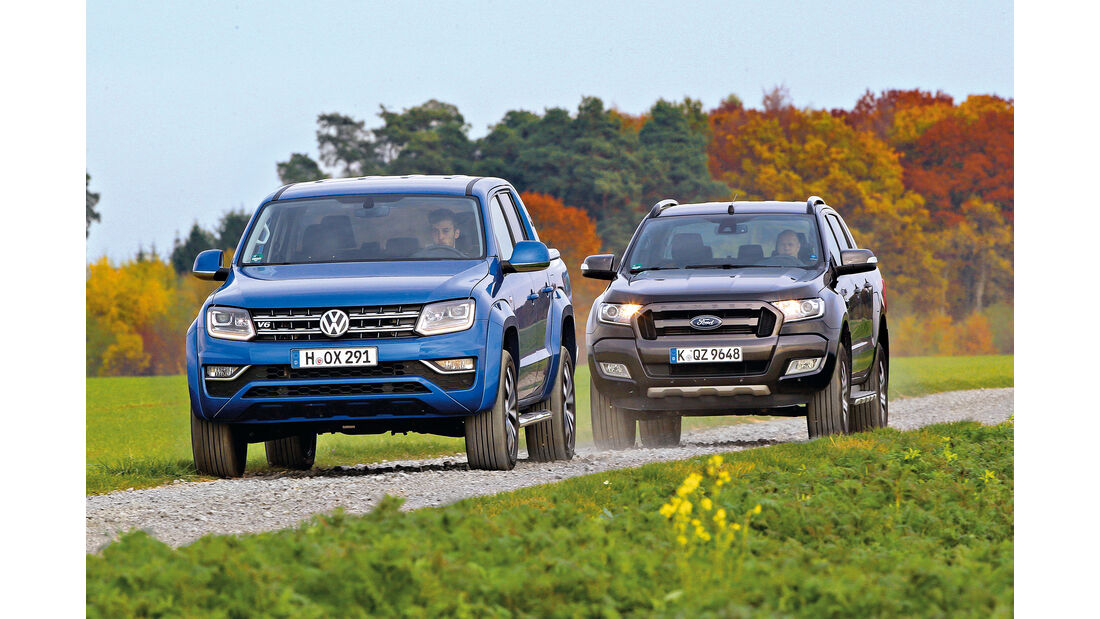 Ford Ranger 3.2 TDCi, VW Amarok 3.0 TDI, Frontansicht
