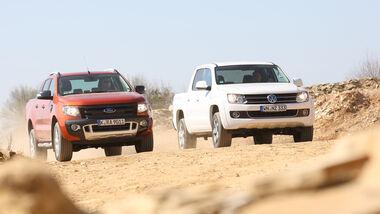 Ford Ranger 3.2 TDCi Wildtrak, VW Amarok 2.0 BiTDI Highline, Frontansicht