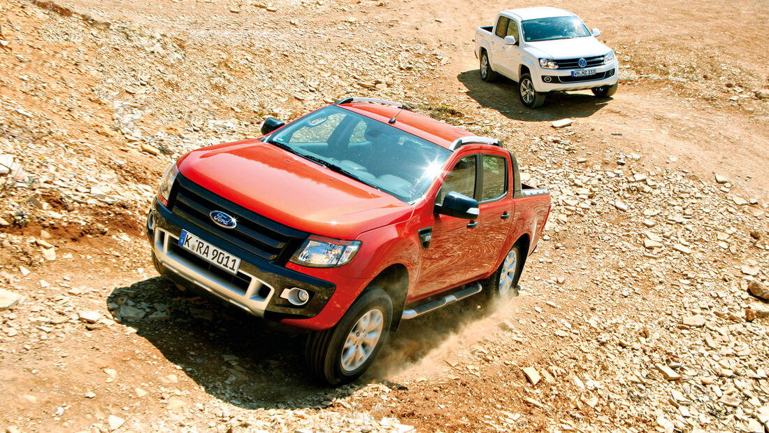 Ford Ranger 3.2 TDCi Wildtrak, VW Amarok 2.0 BiTDI Highline, Gelände