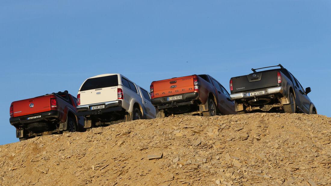 Ford Ranger, Nissan Navara, Toyota Hilux, VW Amarok, Heckansicht