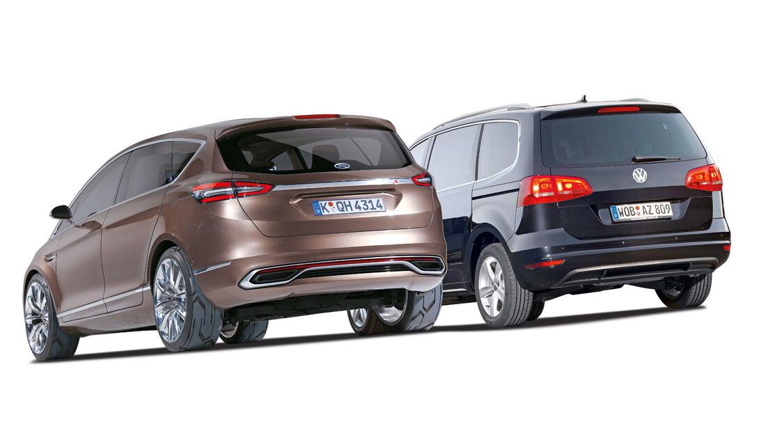 Ford S-MAX, VW Sharan, Heckansicht
