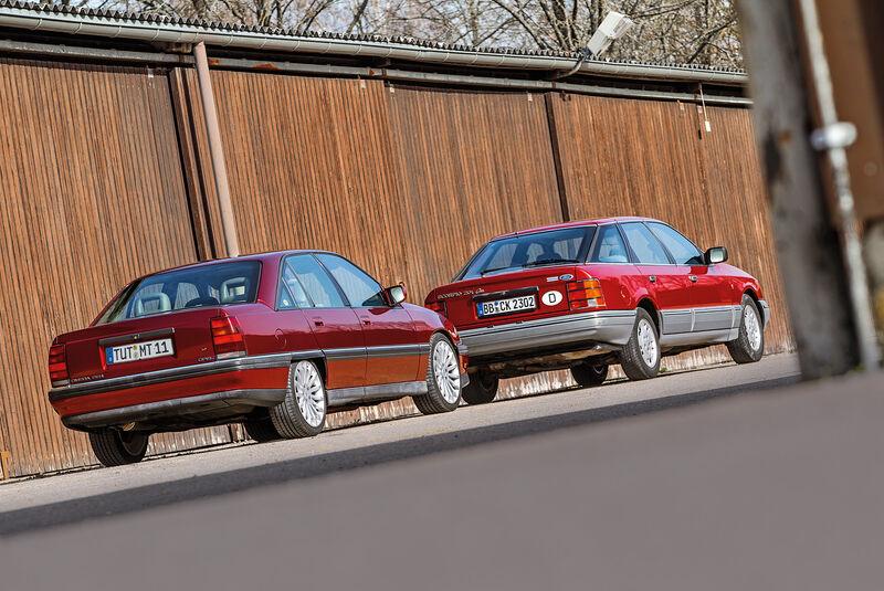 Ford Scorpio 2.0i Ghia, Opel Omega 2.6i CD Diamant, Heckansicht