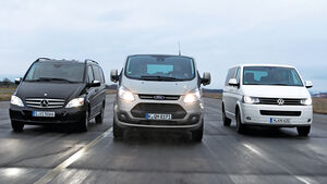 Ford Tourneo Custom, Mercedes Viano 3.0 CDI lang, VW Multivan 2.0 BiTDI