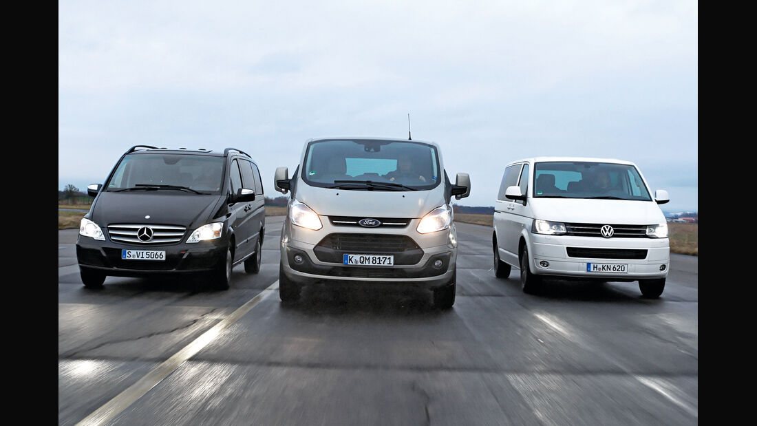 Ford Tourneo Custom, Mercedes Viano 3.0 CDI lang, VW Multivan 2.0 BiTDI