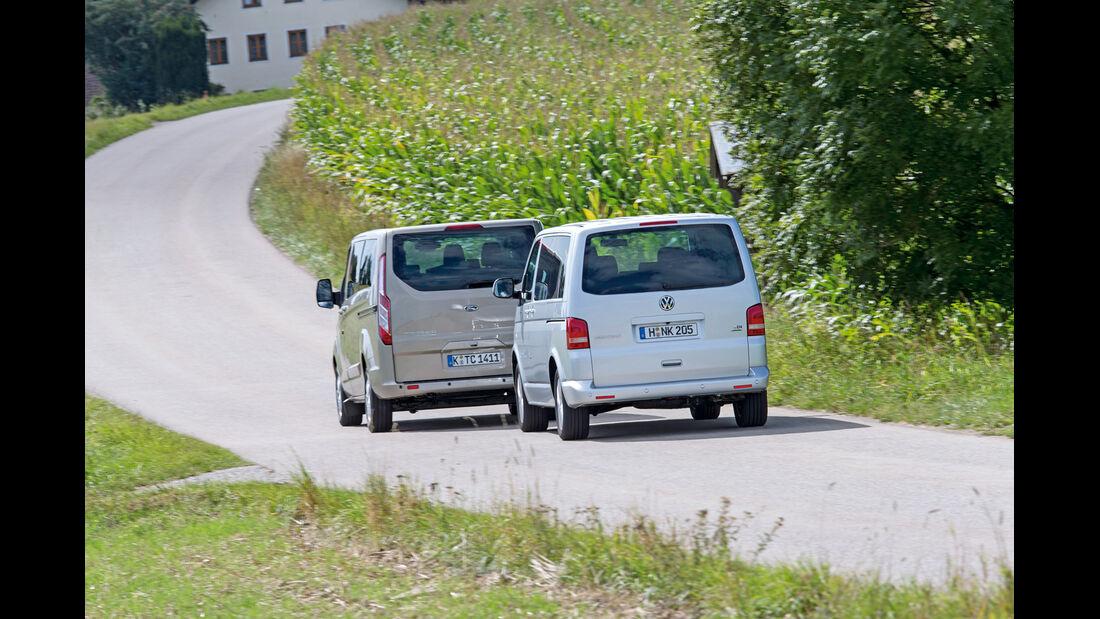 Ford Tourneo Custom, VW Multivan, Heckansicht