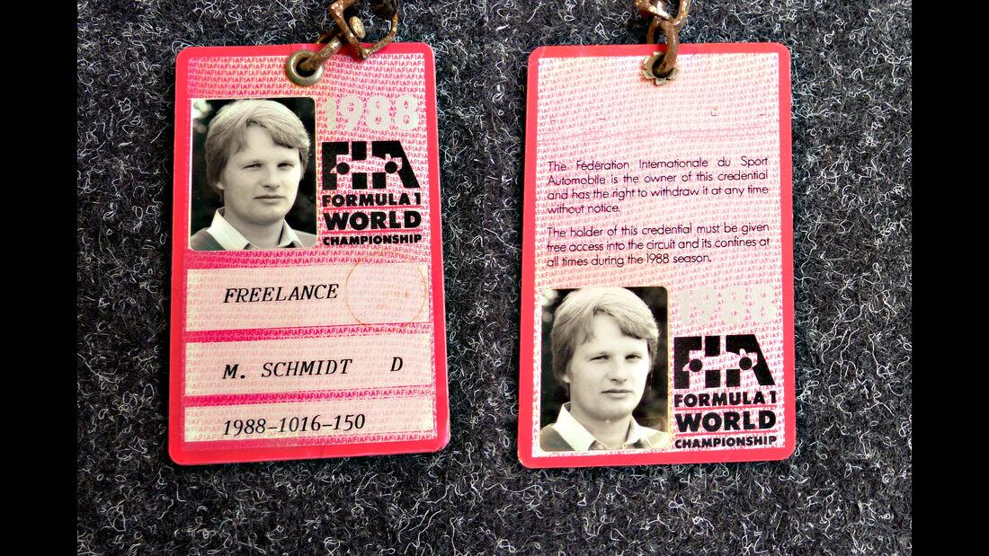 Formel 1 Presse-Akkreditierung Saison 1988