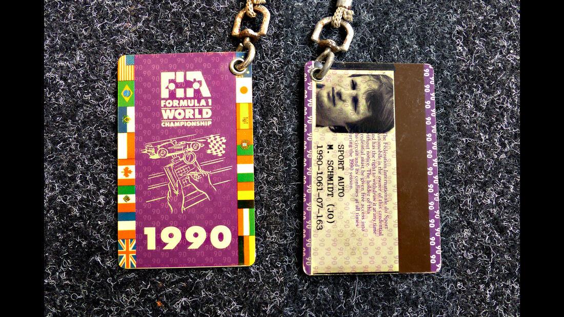 Formel 1 Presse-Akkreditierung Saison 1990