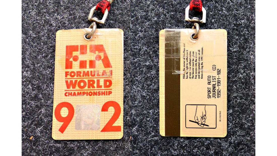 Formel 1 Presse-Akkreditierung Saison 1992