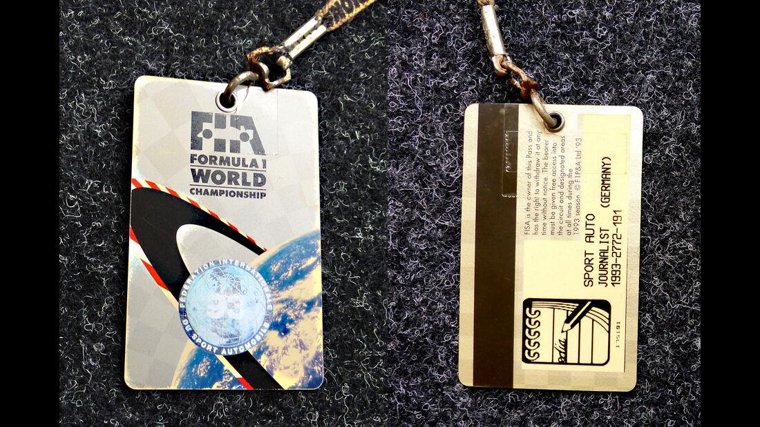 Formel 1 Presse-Akkreditierung Saison 1993