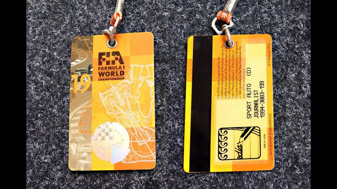 Formel 1 Presse-Akkreditierung Saison 1994