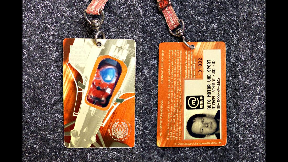 Formel 1 Presse-Akkreditierung Saison 1999