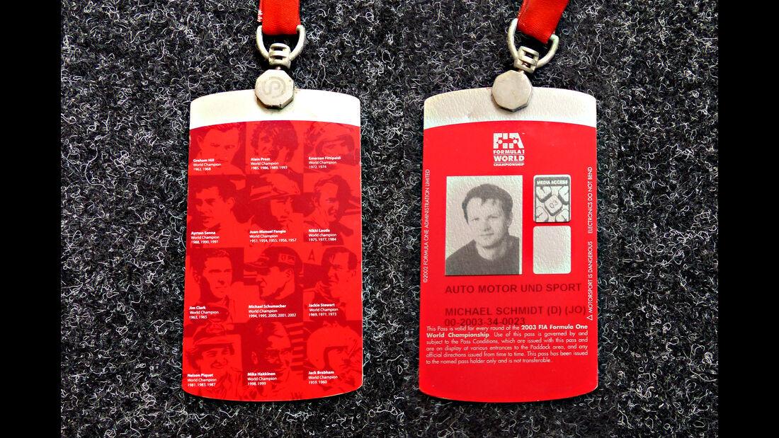Formel 1 Presse-Akkreditierung Saison 2003