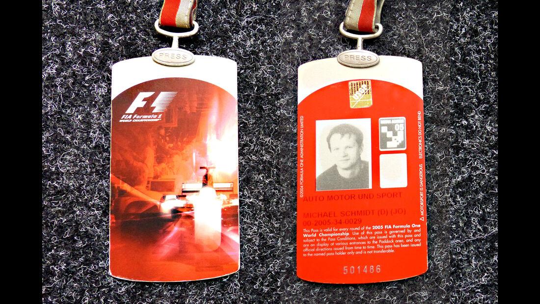 Formel 1 Presse-Akkreditierung Saison 2005