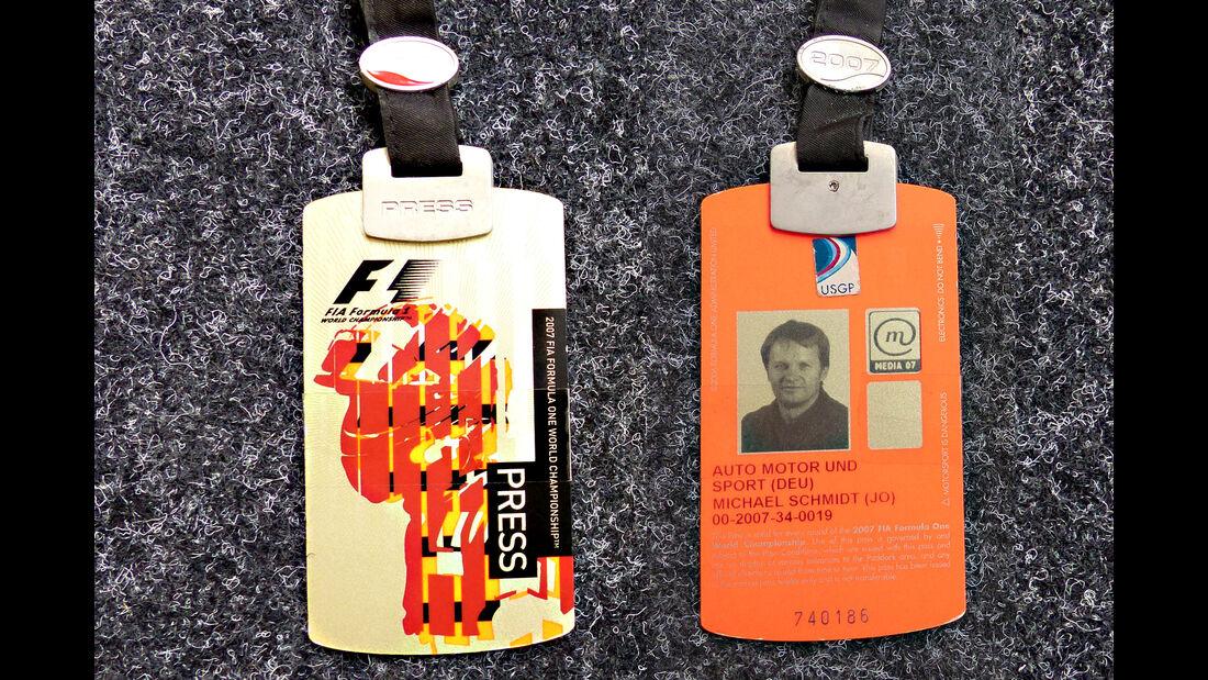 Formel 1 Presse-Akkreditierung Saison 2007