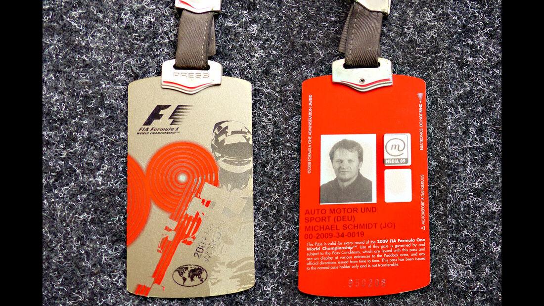 Formel 1 Presse-Akkreditierung Saison 2009