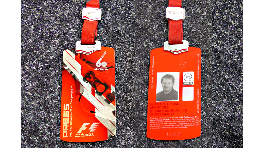 Formel 1 Presse-Akkreditierung Saison 2010