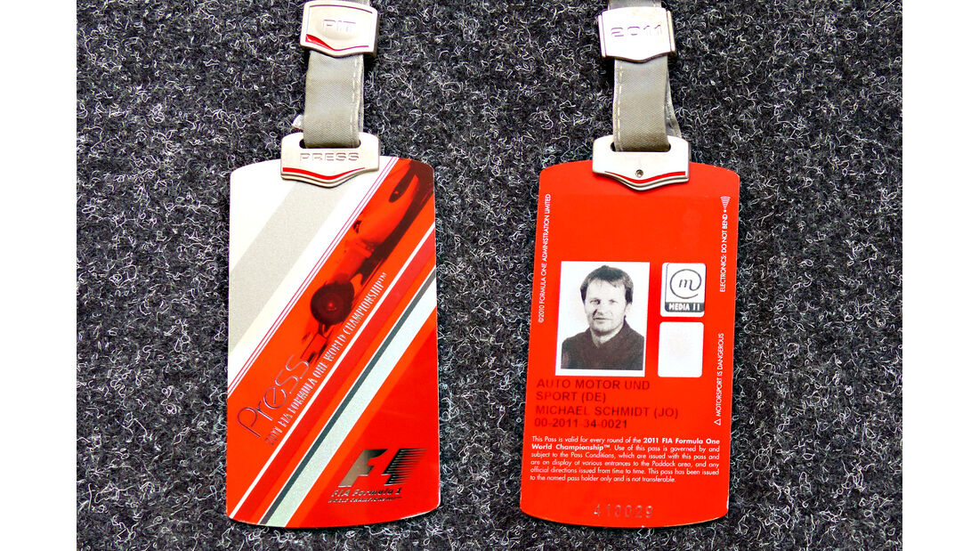 Formel 1 Presse-Akkreditierung Saison 2011